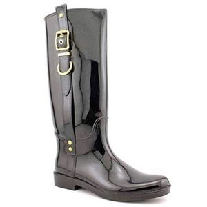 Coach Tasha Boots Shiny Finish 7 Rubber Black Gold